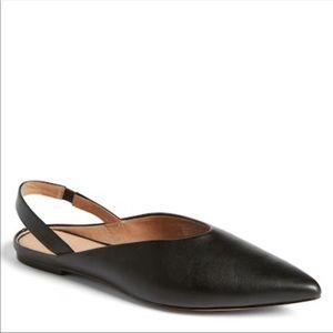 Halogen   NEW Black Leather Sadie Slingback Flats